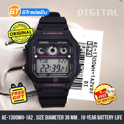 Casio Stardard Men AE-1300WH-1A2 AE1300WH-1A2 Digital Watch Pink Black Resin Band watch for man . jam tangan lelaki . casio watch for men . casio watch . men watch . watch for men  [READY STOCK]