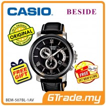 CASIO BESIDE BEM-507BL-1AV Chronograph Watch | Retro Day Date Disp. [PRE]