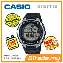 CASIO STANDARD AE-2100W-1AV Digital Watch | World Map 10 Years Batt. [PRE]