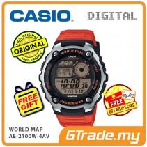 CASIO STANDARD AE-2100W-4AV Digital Watch | World Map 10 Years Batt. [PRE]