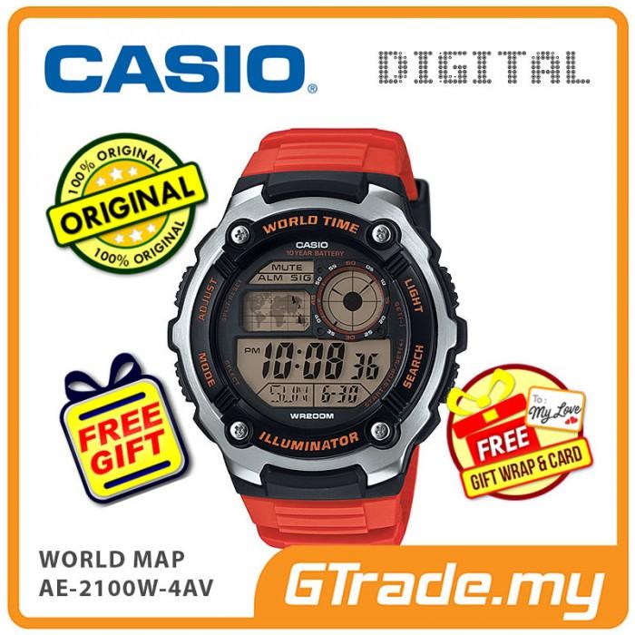 Casio standard ae 2100w 4av digital watch world map 10 years batt gumiabroncs Gallery