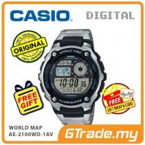 CASIO STANDARD AE-2100WD-1AV Digital Watch | World Map 10 Years Batt. [PRE]