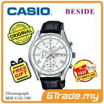 CASIO BESIDE BEM-512L-7AV Chronograph Watch | Genuine Leather Band [PRE]