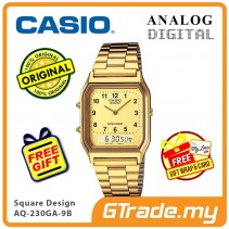 [READY STOCK] CASIO ANALOG DIGITAL Watch AQ-230GA-9B | Square Gold Design Dual Time