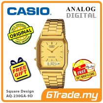 [READY STOCK] CASIO ANALOG DIGITAL Watch AQ-230GA-9D | Square Gold Design Dual Time