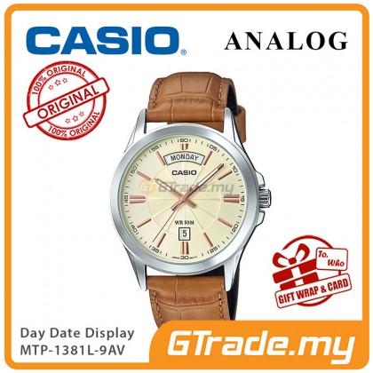 [READY STOCK] CASIO ANALOG MTP-1381L-9AV Men Watch | Day Date 50 Meter Water Resist