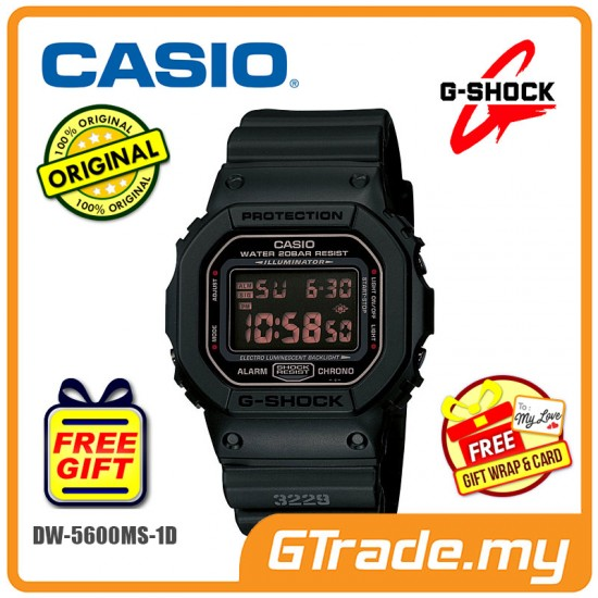 [READY STOCK] CASIO G-SHOCK DW-5600MS-1 Digital Watch | Army Force Matte Black