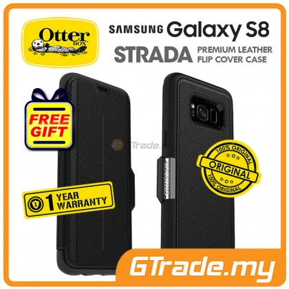 OTTERBOX Strada Premium Leather Case   Samsung Galaxy S8 Onyx *Free Gift