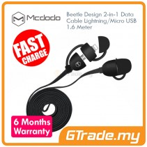 MCDODO Beetle Micro+Lightning USB Cable BLACK