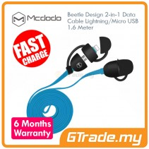 MCDODO Beetle Micro+Lightning USB Cable BLUE