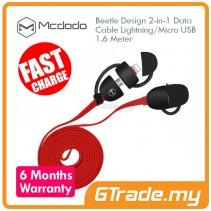 MCDODO Beetle Micro+Lightning USB Cable RED