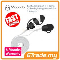 MCDODO Beetle Micro+Lightning USB Cable WHITE