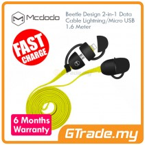MCDODO Beetle Micro+Lightning USB Cable YELLOW