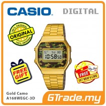 CASIO Men A168WEGC-3D Digital Watch | Vintage Classic Gold Army Force