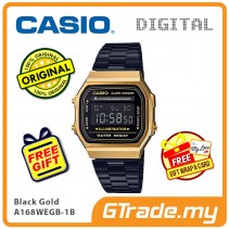 CASIO Men A168WEGB-1B Digital Watch | Vintage Classic Black Gold
