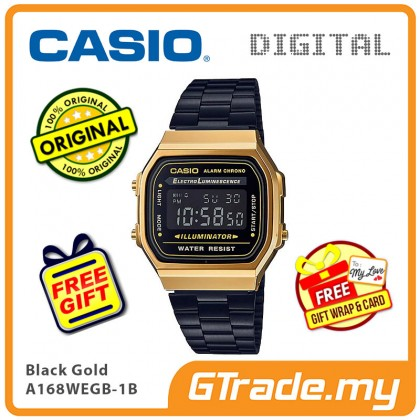 [READY STOCK] CASIO Men A168WEGB-1B Digital Watch | Vintage Classic Black Gold