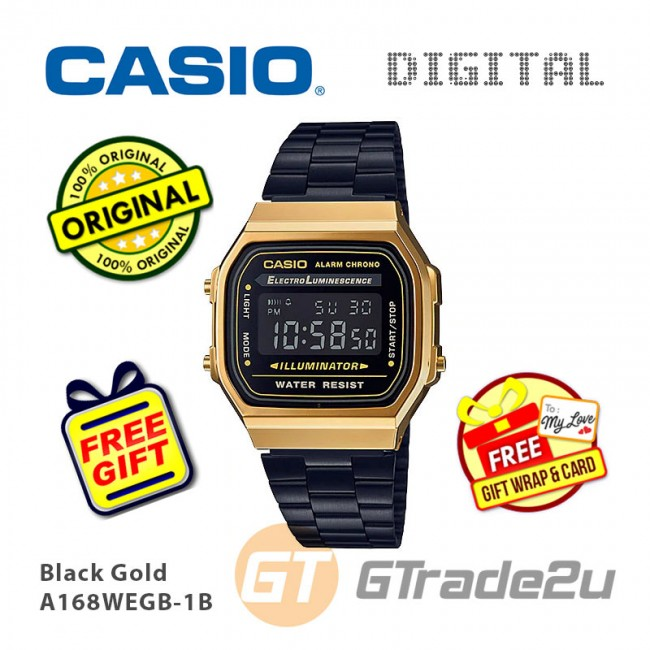 [READY STOCK] CASIO Men A168WEGB-1B Digital Watch | Vintage Classic Black Gold