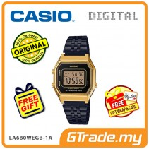 CASIO Women Ladies LA680WEGB-1A Digital Watch | Retro Black Gold