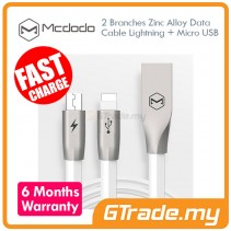 MCDODO CA187 2 Branches 2 in 1 Zinc Alloy Data Cable Lightning + Micro USB White