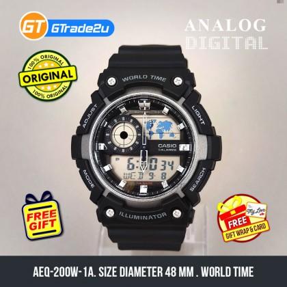 Casio Standard Men AEQ-200W-1A AEQ200W-1A Analog Digital World Map Watch Black Resin Band watch for man . jam tangan lelaki . casio watch for men . casio watch . men watch . watch for men [READY STOCK]