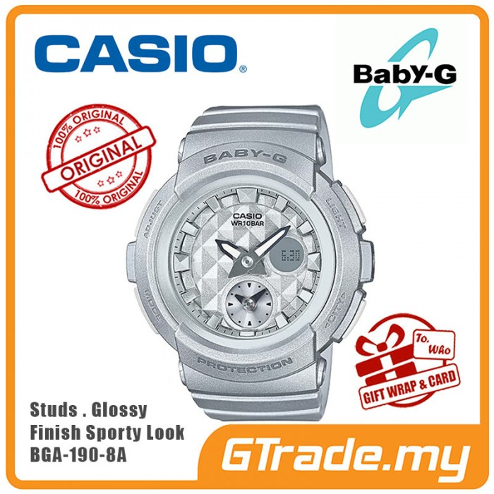 970f23b4a8679 CASIO Ladies BABY-G BGA-195-8A Digital Watch Studs Fashion Diamond  PRE
