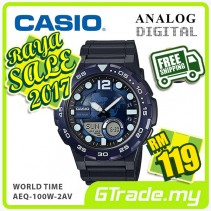 ✰RAYA✰CASIO STANDARD AEQ-100W-2AV Analog Digital Watch | World Time Map