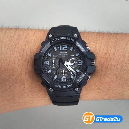 Casio Stardard Men MCW-100H-1A3 MCW100H-1A3 Chronograph Watch Black Resin Band watch for man . jam tangan lelaki . casio watch for men . casio watch . men watch . watch for men [READY STOCK]