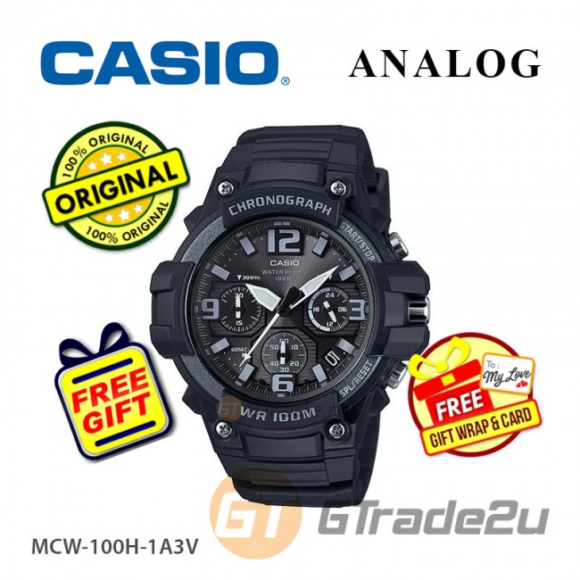 [READY STOCK] CASIO MEN MCW-100H-1A3V Analog Watch   Tough looking case