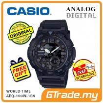 CASIO STANDARD AEQ-100W-1BV Analog Digital Watch | World Time Map