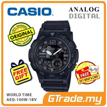 [READY STOCK] CASIO STANDARD AEQ-100W-1BV Analog Digital Watch   World Time Map