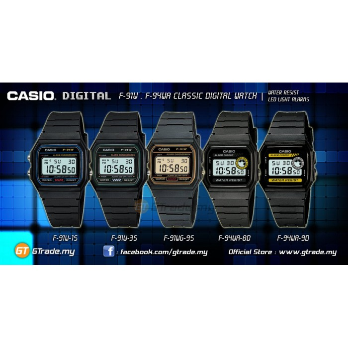 Casio Men Kids Digital Watches Classic Vintage F 91w F 94wa