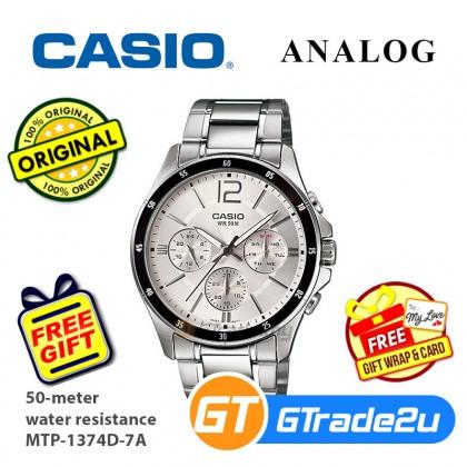 CASIO Men Watch Gentleman Multi-Hand Steel Jam Casio Ori Lelaki MTP-1374D