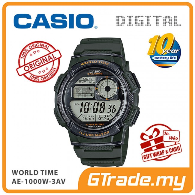 CASIO Men Digital Watch Jam Casio Ori Lelaki AE-1000W 10 Years Batt.