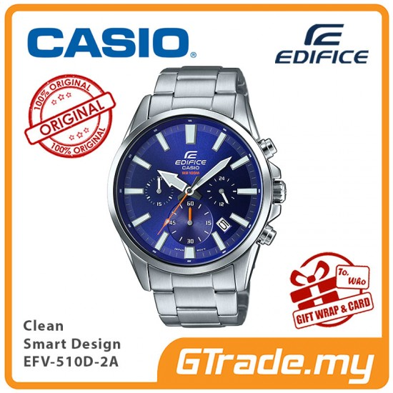 CASIO EDIFICE EFV-510D-2A Men Chronograph Watch | Clean Smart Design