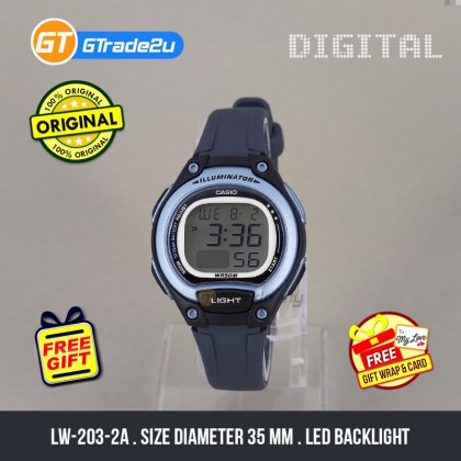 [READY STOCK] CASIO Kids Ladies LW-203-2A Digital Watch | Cool Futuristic Standout