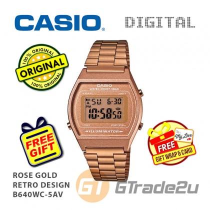 [READY STOCK] CASIO DIGITAL B640WC-5AV Men/Ladies Digital Watch | Retro Rose Gold