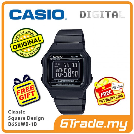 [READY STOCK] CASIO Men B650WB-1B Digital Watch | Classic Square Design