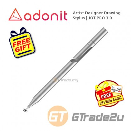 Adonit Jot PRO 3 Stylus Pen Professional Artist Drawing Designer Silver +Free Gift