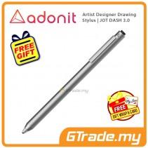 ADONIT Jot Dash 3 Stylus Pen Professional Artist Drawing Designer Silver +Free Gift