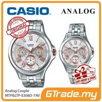 CASIO MULTI-HANDS MTP-E308D-7AV & LTP-E308D-7AV Analog Couple Watch