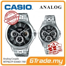 CASIO MULTI-HANDS MTP-E308D-1AV & LTP-E308D-1AV Analog Couple Watch