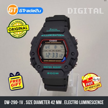 [READY STOCK] CASIO STANDARD Men DW-290-1V Digital Electro Luminescence Watch Black Resin Band watch for man . jam tangan lelaki . men watch . watch for men . casio watch for men . casio watch