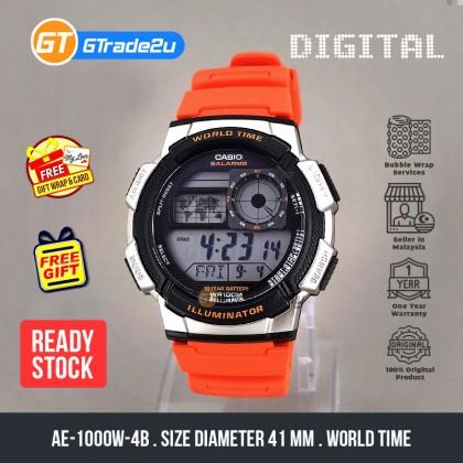Casio Stardard Men AE-1000W-4B AE1000W-4B Digital World Time Watch Silver Orange Resin Band watch for man . jam tangan lelaki . casio watch for men . casio watch . men watch . watch for men [READY STOCK]