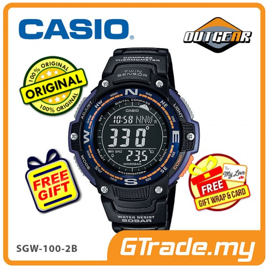 [READY STOCK] CASIO OUTGEAR SGW-100-2B Sport Gear Watch | Compass Thermo.