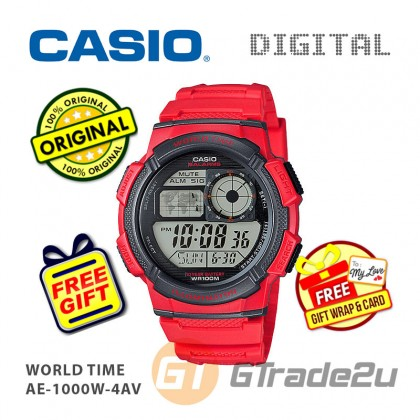 [READY STOCK] CASIO STANDARD AE-1000W-4AV Digital Watch | 10 Yrs Batt. WR100M