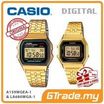 CASIO GOLD A159WGEA-1D + LA680WGA-1D Vintage Digital Couple Watch