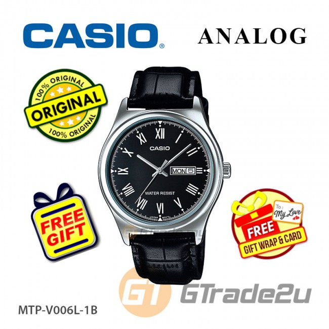 [READY STOCK] CASIO STANDARD MTP-V006L-1BV Analog Mens Watch | Leather Day Date