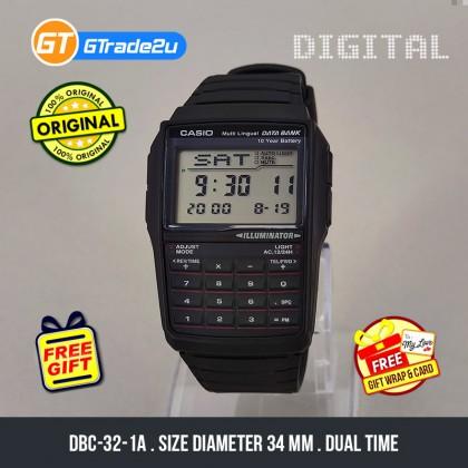[READY STOCK] CASIO DATA BANK DBC-32-1A Digital Watch | Calculator 10 Years Batt.
