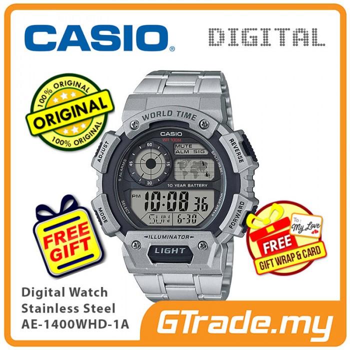 Ready Stock Casio Men Ae 1400whd 1a Digital Watch World Map