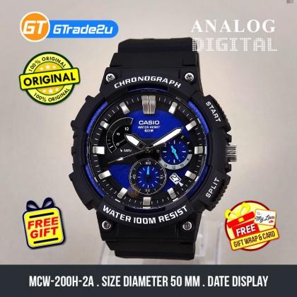 CASIO MEN MCW-200H-2A Chronograph Watch | Smart Design [READY STOCK]